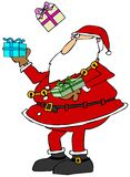 Santa juggling packages. This illustration depicts Santa Claus juggling three wrapped packages Royalty Free Stock Photo