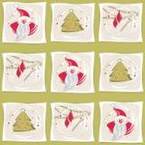 Santa, jultree och filialer med den glass bollen Fotografering för Bildbyråer
