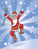 Santa jumping Stock Photography