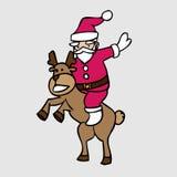 Santa and jumping deer Stock Photos