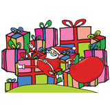 Santa jumping in front of presents Royalty Free Stock Photos