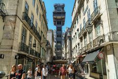 Santa Justa Elevador Lift in Lisbon. LISBON, PORTUGAL - AUGUST 11, 2017: Built in 1902 Santa Justa Elevador Lift, also called Carmo Lift is an elevator in the Royalty Free Stock Photo