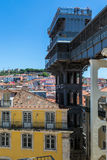 Santa Justa lift built by Raoul Mesnard in 1902 in Lisbon, Portu Royalty Free Stock Photos