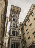 Santa Justa lift, Lisbon, Portugal. Royalty Free Stock Images
