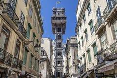 Santa Justa winda Baixa Lisbon Fotografia Stock