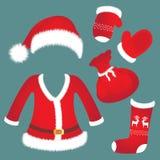 Santa kapelusz, kostium, mitynki, skarpeta, torba Nowego Roku ` s akcesoria ilustracji