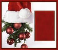 Santa kapeluszowy Bożenarodzeniowy kartka z pozdrowieniami Obrazy Stock