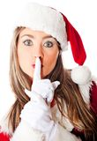 Santa keeping it quiet Royalty Free Stock Photography