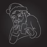 Santa is keeping secret. Santa Claus with greeting card. Hand drawn  illustration, Chalk board drawing Stock Photos