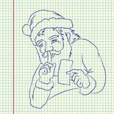 Santa is keeping secret. Santa Claus with greeting card. Hand drawn  illustration. Sheet ball pen drawing Stock Photography