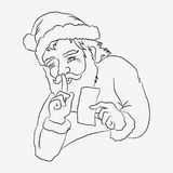 Santa is keeping secret. Santa Claus with greeting card. Hand drawn  illustration. Black and white drawing Stock Photography