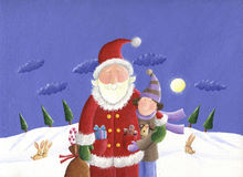 Santa and kid. Acrylic illustration of Santa and kid in the winter night Royalty Free Stock Images