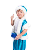 Santa Kid zijn duim omhoog royalty-vrije stock afbeelding