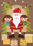 Santa with kids Stock Images