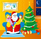 Santa with the kids. Christmas scene,  illustration Stock Photo