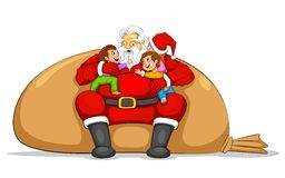 Santa with Kids Stock Image