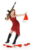 Santa killer. Serial Santa and dwarf's killer girl with a gun Stock Photo