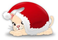 Santa kitten Stock Photo