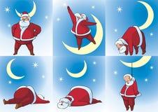 Santa Klaus e luna Fotografia Stock
