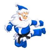 Santa klaus jump kick. Santa Claus jumping kick in Martial arts and Kickboxing. Vector EPS-10 Stock Photography