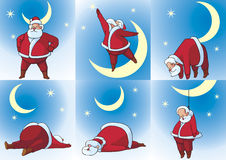 Santa Klaus and Moon Stock Photo