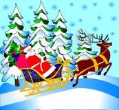 Santa Klaus porte le cadeau Photographie stock libre de droits