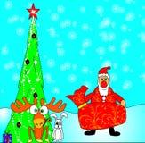 Santa Klaus portent le cadeau Photos stock
