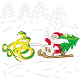 Santa Klaus on sled with snake Royalty Free Stock Image