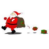Santa Klaus verliert Geschenke Stockbilder