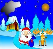 Santa Klausklaus avec le cadeau dans le sac Photos libres de droits