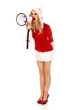 Santa kobieta krzyczy megafonem Zdjęcie Stock