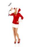Santa kobieta krzyczy megafonem Obrazy Stock
