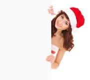 Santa kobieta z białą puste miejsce deską Zdjęcie Royalty Free