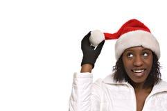 Santa kobiety young kapelusz Zdjęcie Royalty Free