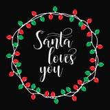 Santa Kocha Ciebie Bożenarodzeniowy wakacyjny druk Zimy karta lub plakatowy projekt Zdjęcia Royalty Free