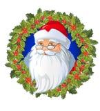 Santa kreskówki głowa na Bożenarodzeniowym wianku dekorował z Tradycyjną boże narodzenie rośliną Wakacyjna czerwona jagoda z ziel ilustracji
