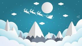 Santa krzyż siedzi na snowmobile z reniferem na niebie ilustracji