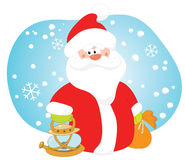 Santa with a lamp. And a bag of gifts Royalty Free Illustration