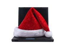 santa lap-top καπέλων Claus Στοκ Εικόνα