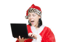 Santa and laptop Royalty Free Stock Images