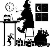 Santa laptop. Silhouette graphic depicting Santa Claus, at his laptop, making a list Stock Photos