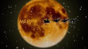 Santa latanie z fajerwerkami nad pełnej ognistej księżyc Święty Mikołaj nowego roku animacji szczęśliwą sylwetką zbiory