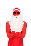Santa in latex clothes with open hands Royalty Free Stock Photo