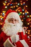 Santa with latte Royalty Free Stock Photos