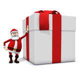Santa leaning against big present. 3d rendering/illustration of a cartoon santa leaning against big present Stock Photography