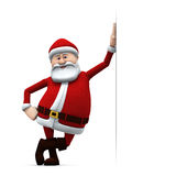 Santa leaning against a big sign Stock Photo