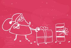 Santa leaving presents in vector Royalty Free Stock Images