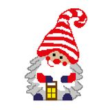 Santa leprechaun with a flashlight, lamp, painted in squares, pixels. Happy new year greeting card. Vector illustration. Santa leprechaun with a flashlight, lamp royalty free illustration