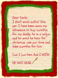 Santa Letter: Requests Gift For Military Dad Stock Image