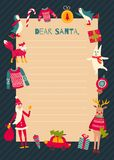 Santa letter1. Vector template of a Christmas letter to Santa Claus, traditional seasonal symbols Royalty Free Stock Image